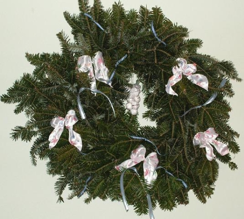 Fresh Christmas Wreaths - White Bows