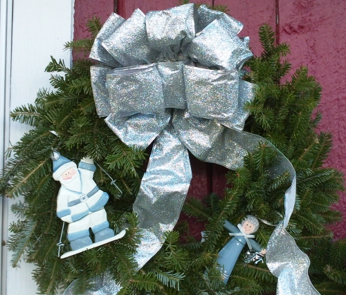 Decorated Fresh Christmas Wreaths -  Silver