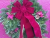 Decorated Fresh Christmas Wreaths - Burgundy with Flowers